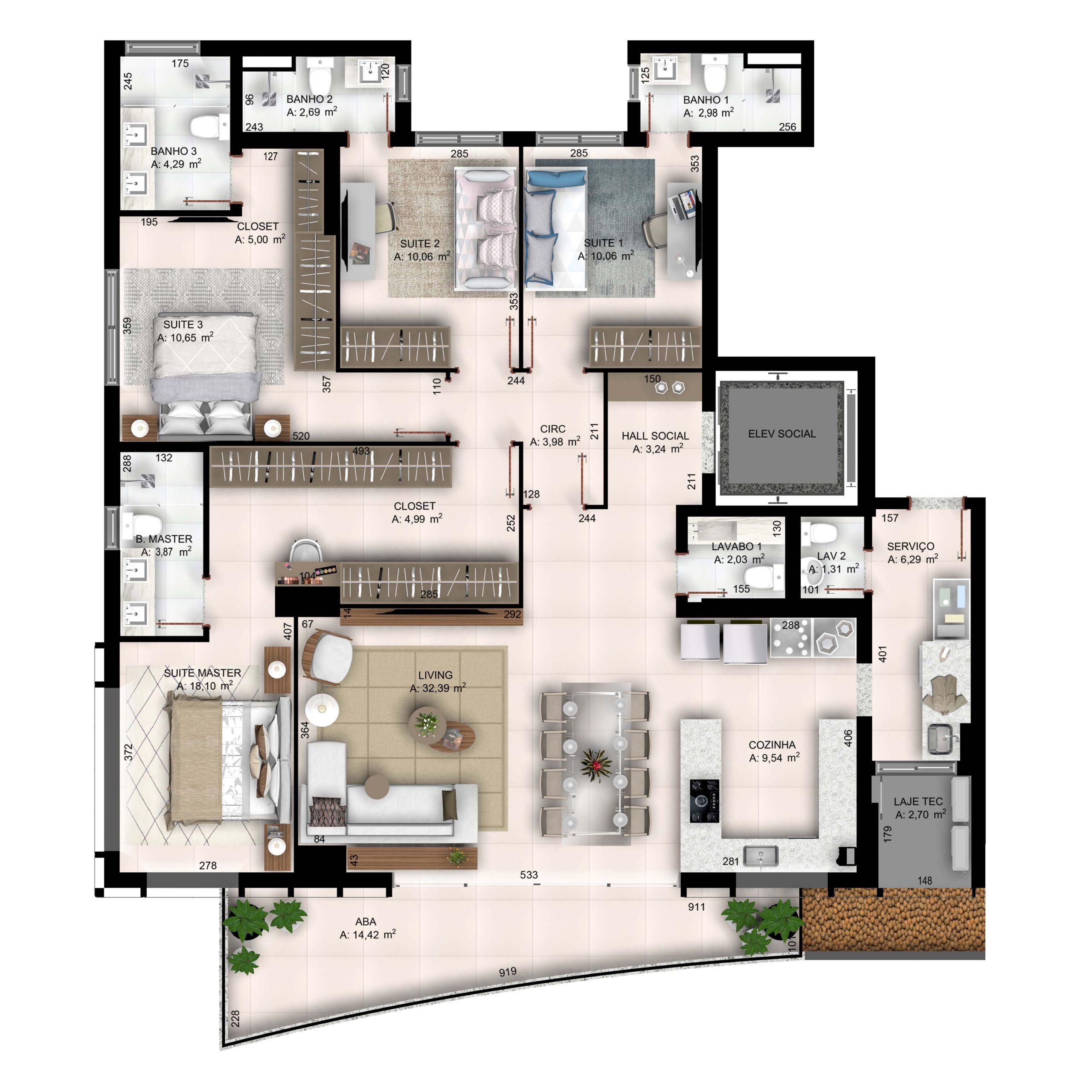 4 suítes plenas com cozinha integrada - 171,45 m²