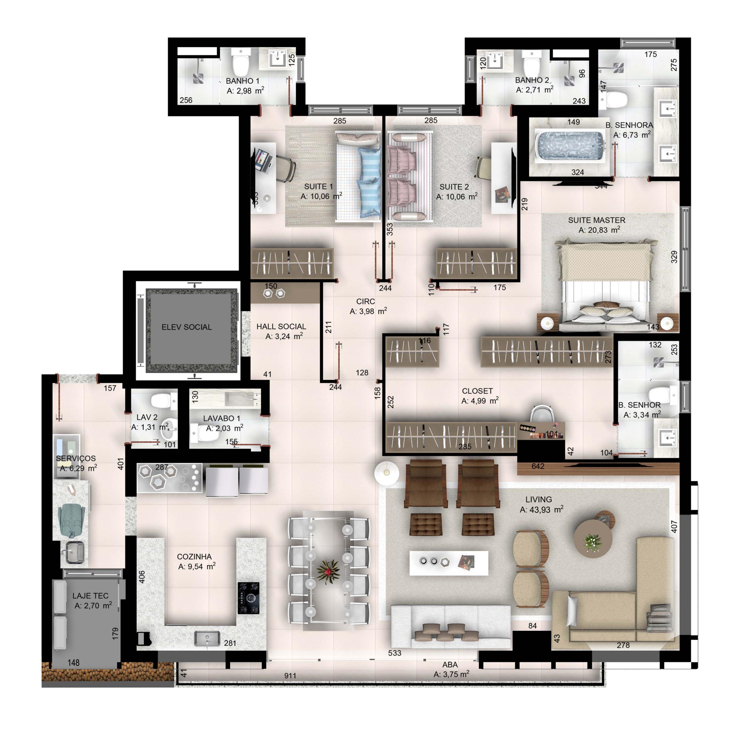 3 suítes plenas com sala ampliada - 171,45 m²